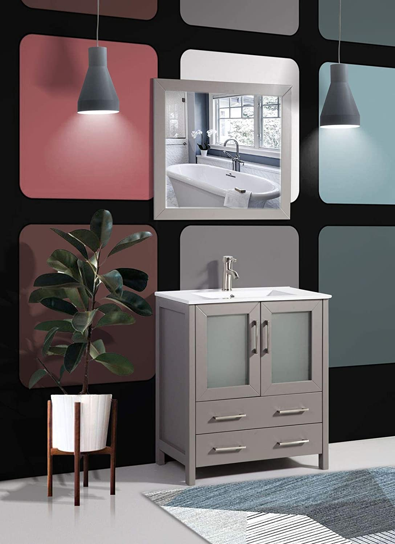 Amazon Com Vanity Art 30 Inch Single Sink Modern Bathroom Vanity Compact Set 1 Shelf 2 Drawers Ceramic Top Bathroom Cabinet With Free Mirror Va3030 G Kitchen Dining