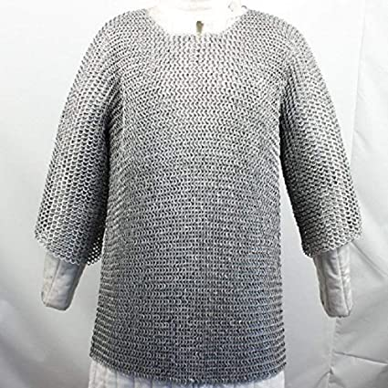 Aluminium Round Riveted Flat Warser Chainmail shirt 9 mm Large Size Half sleeves
