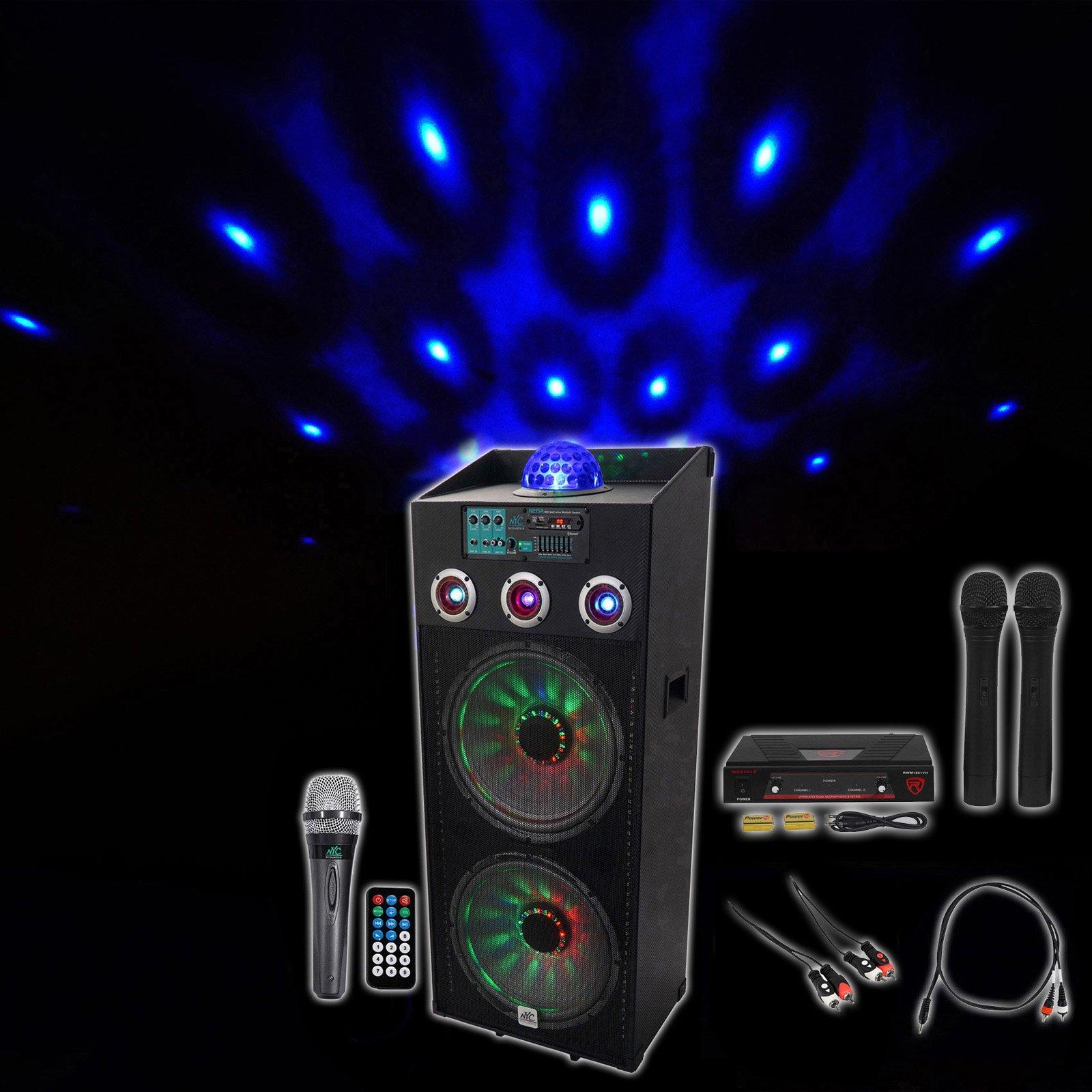 NYC Acoustics Dual 15'' Bluetooth Karaoke System 4 ipad/iphone/Android/Laptop/TV