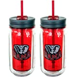 Cool Gear 16 Ounce University of Alabama Crimson Tide Mason Jar (2 Pack)