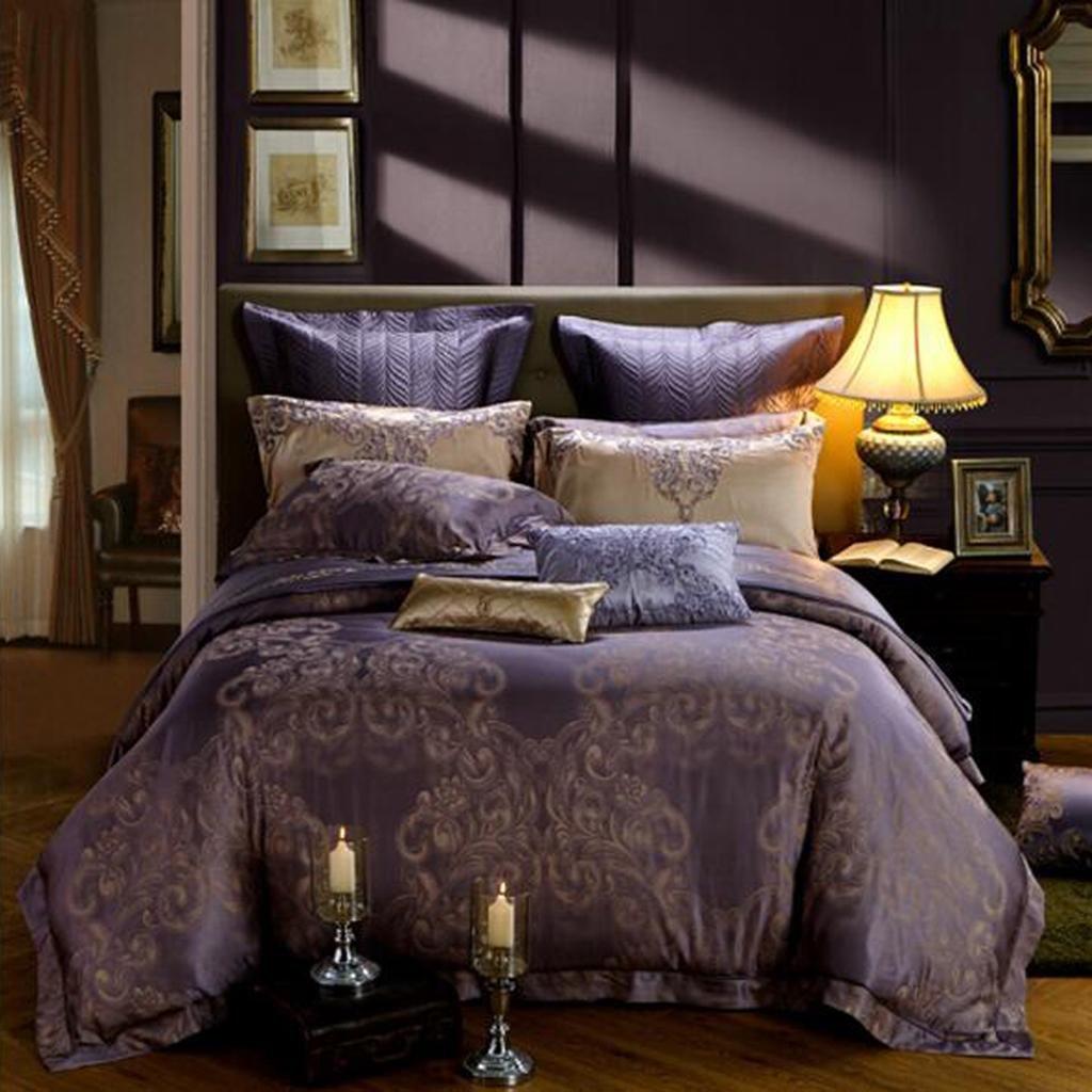 L&M silk Cotton jacquard Four pieces of bedding Bed sheets Quilt cover 1.8 m bed 220 240cm
