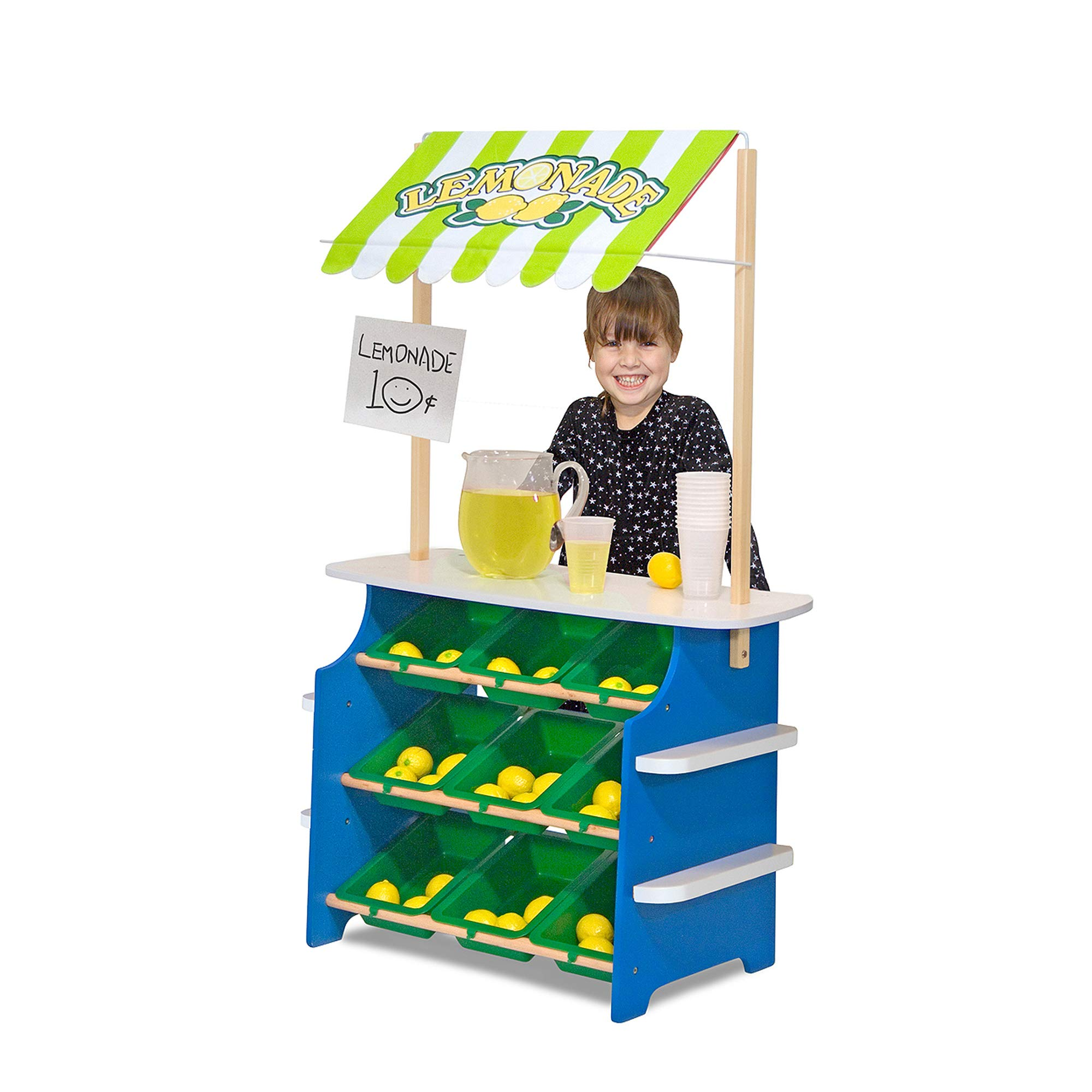 Melissa & Doug Grocery Store/Lemonade Stand (Play Food, Wooden Play Center, Portable Plastic Bins, Sturdy Construction, Great Gift for Girls and Boys – Best for 3, 4, 5, and 6 Year Olds)