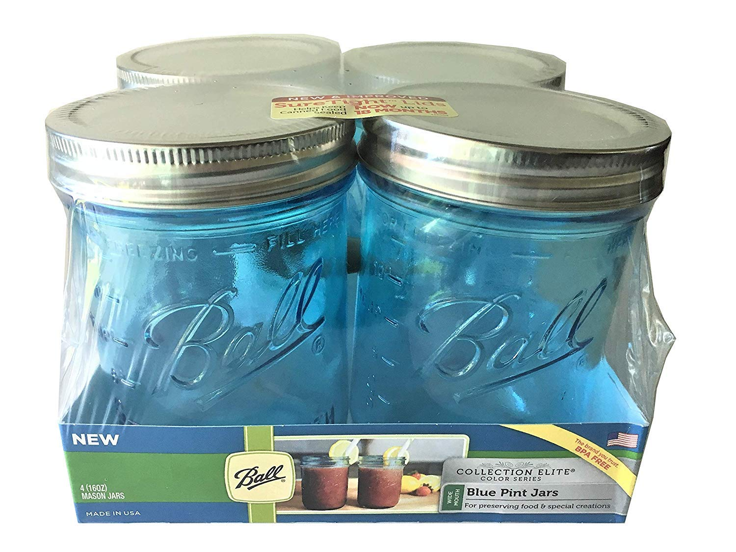 Ball Pint Size Wide Mouth Canning Jars | 16-oz | Collection Elite Series | Blue (4-Pack)