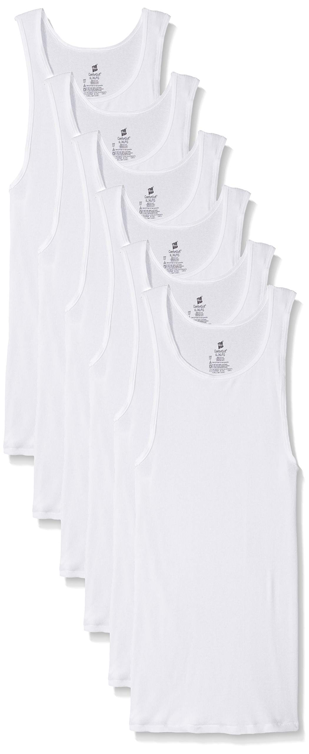 Hanes Men's Big and Tall Tank Tagless Fresh IQ Comfort Soft Ribbed A-Shirt 100% Cotton - 6 Pack XL Tall White by Hanes