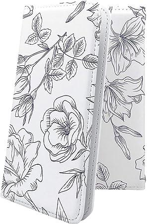 10a1ba65c4 ZenFone Max Pro M1 ZB602KL ケース 手帳型 線画 花 花柄 フラワー ゼンフォーン ゼンフォン