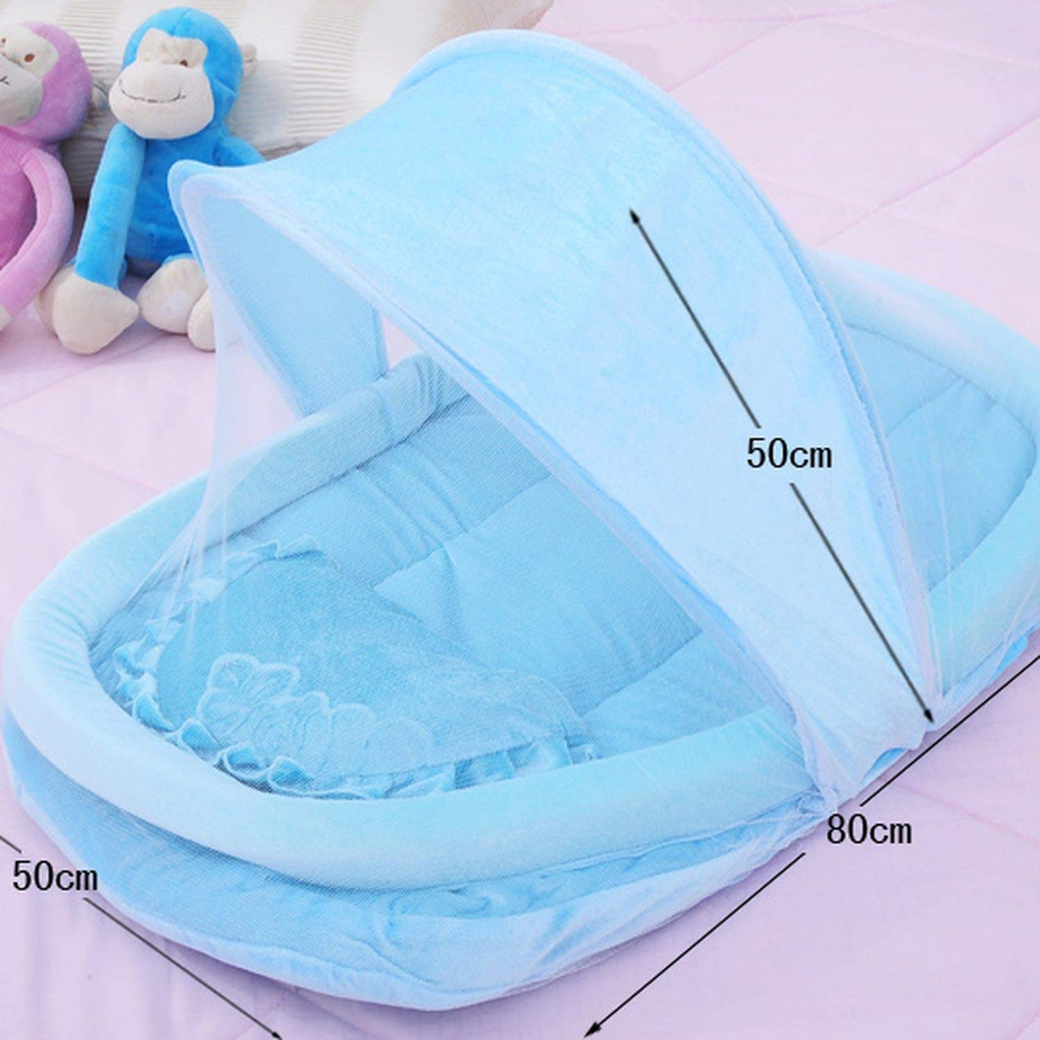 Baby Infant Bed Canopy Mosquito Net with Mattress Pillow, Baby Cradle Mosquito Insect Net, Baby Crib Mosquito Tent,Blue by Try My Best Mosquito Net (Image #2)