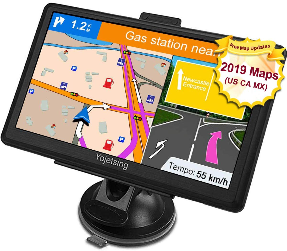 YoJetSing GPS Navigation for Car, Truck GPS 7 Inch HD GPS Navigation, Built-in 256MB+8GB Vehicle Navigation System, Voice Reminding, Free Lifetime Maps, Pre-Installed 2019 USA+Canada+Mexico Maps by YoJetSing