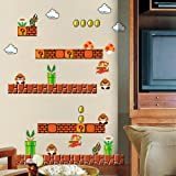 HomeEvolution Giant Super Mario Build a Scene Peel and Stick Wall Decals Stickers for Kids Boys Nursery Wall Art Room…