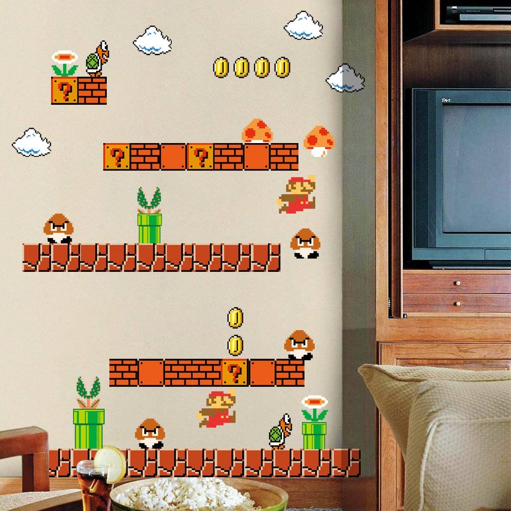 HomeEvolution Giant Super Mario Build a Scene Peel and Stick Wall Decals Stickers for Kids Boys Nursery Wall Art Room Decor by HomeEvolution