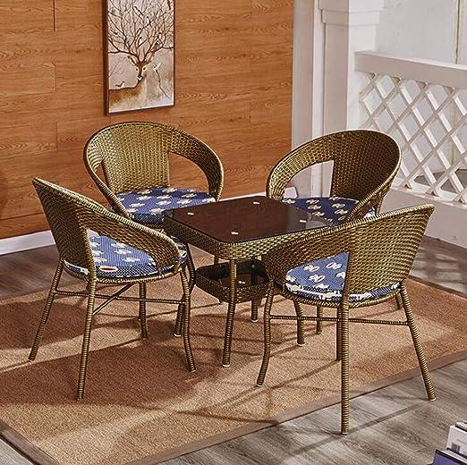 KIMSAI Conjunto De Muebles De Patio Al Aire Libre 5 Piezas De Mimbre PE Sofá De Mimbre De Jardín Y Sillas Conjunto con Muebles De Mesa Conjunto De Muebles,Green: Amazon.es: Hogar