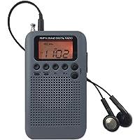 AM FM 袖珍收音机带耳机迷你便携式闹钟 无线电数字调谐 AM/FM 立体声个人接收器电池用于散步/跑步-灰色