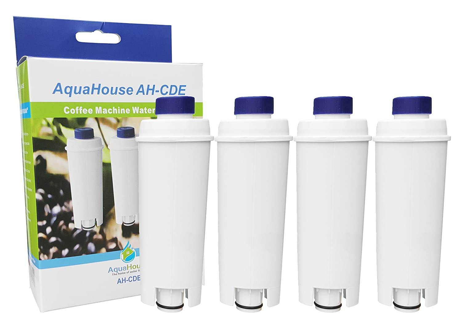 4x AquaHouse AH-CDE Compatible replacement filter for DeLonghi water filter cartridge DLSC002, SER3017, 5513292811 for Coffee Maker