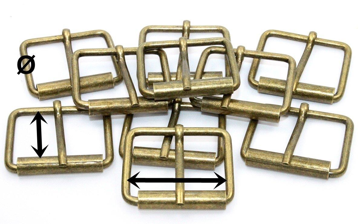 10x Rollschnalle-Gurtschnallen 30mm altmessing