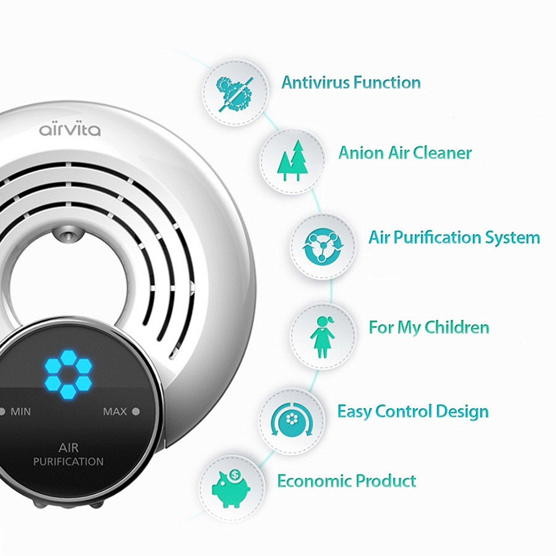1pcs of AIRVITA Q Air freshener, Air Purifier 110V Antivirus influenza A virus (H5N1) removal function + English Manual