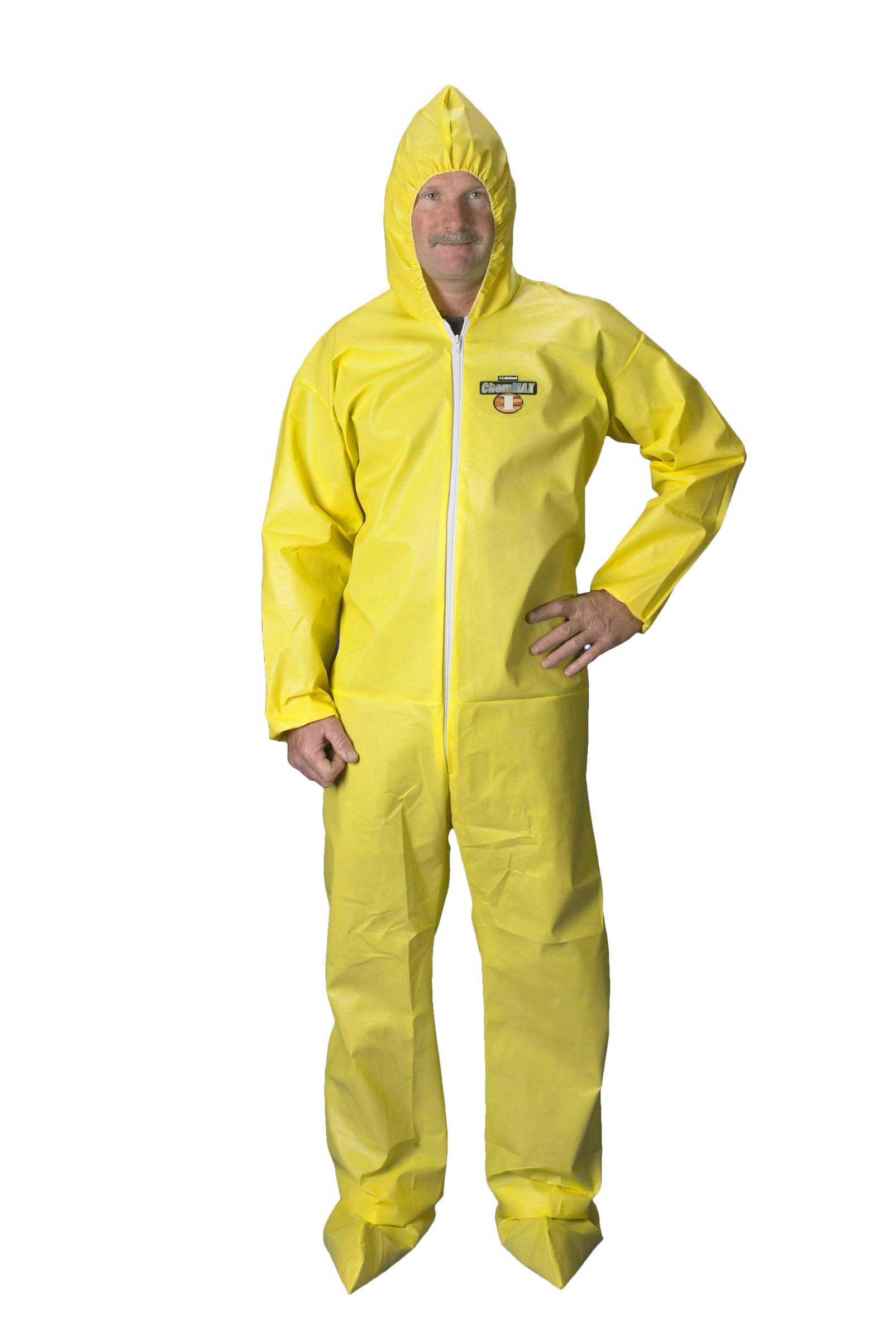 Lakeland ChemMax 1 Polyethylene/Polypropylene Serged Seam Disposable Coverall with Hood and Boots, Elastic Cuff, 2X-Large, Yellow (Case of 25) by Lakeland Industries Inc (Image #1)