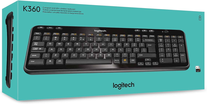 Logitech K360 Teclado Inalámbrico Compacto para Windows, Disposición QWERTY Inglés Reino Unido, Negro