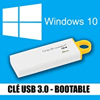 Windows 10 - Familiale & Professionnelle (Home & Pro) - Français - 32 & 64 bits - Clé USB 3.0 - 8 Go - Réinstallation, restauration, réparation