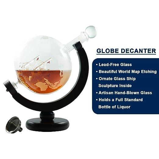 Decantador de Whisky para bebidas alcohólicas o vino - diseño de escamas, globo de cristal - cristal barco Escultura interior - Artisan calidad - Soporte de ...