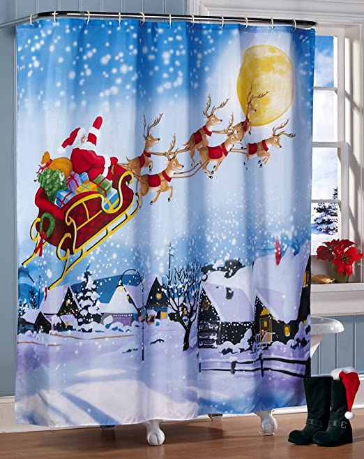 Amazon.com: Santa\'s Flight Christmas Bathroom Shower Curtain by ...