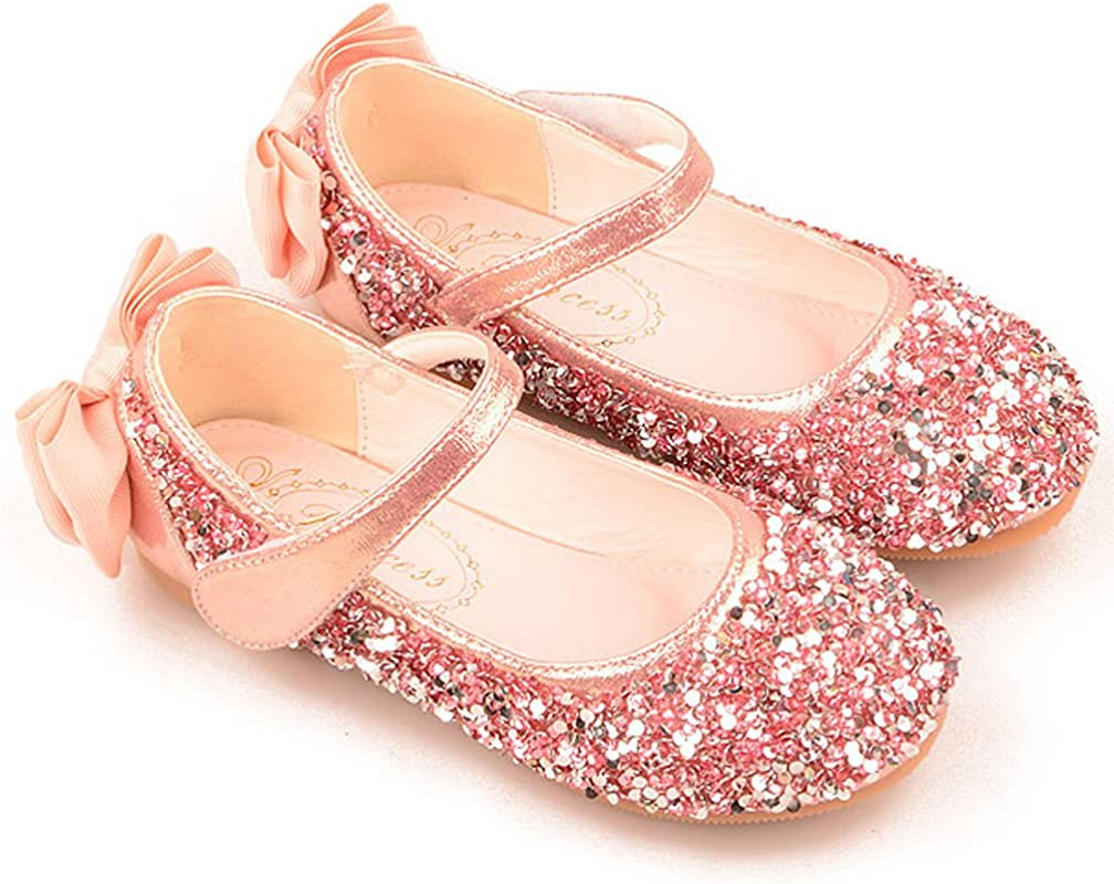 iDuoDuo Girls Twinkle Toe Sequins Heel Bowknot Dance Flats Dress Mary Jane Shoes Toddler//Little Kid