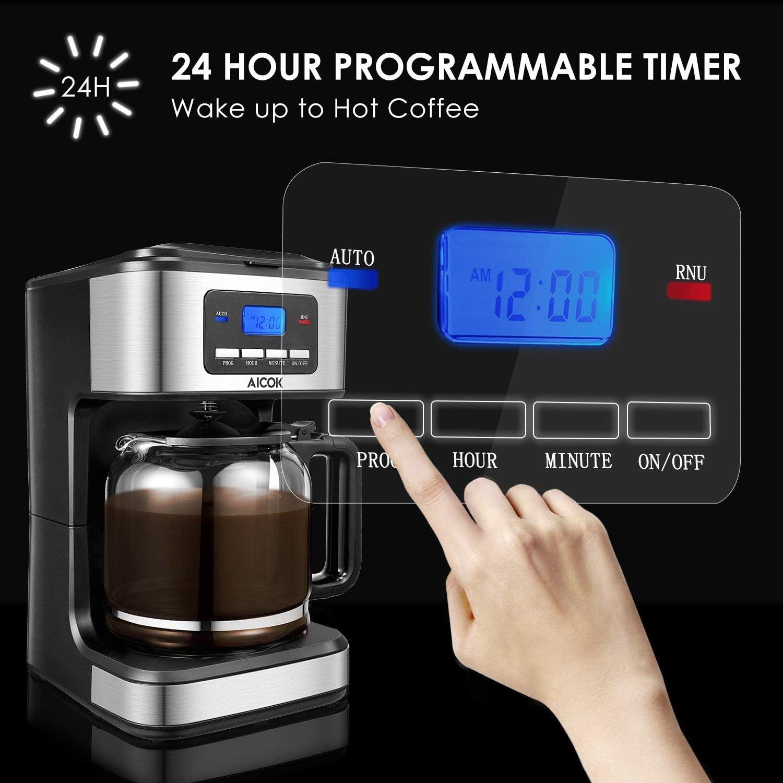 Aicok - Cafetera de filtro para cafetera de 12 tazas, cafetera ...