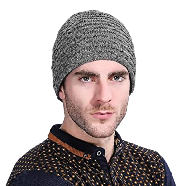 35fb8a10 VBIGER Men Warm Knit Hat Thick Winter Hat Slouchy Beanie Skull Slouch Cap  for Men - Grey -: Amazon.co.uk: Clothing