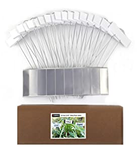 "Amatory Metal Plant Labels Garden Markers Gardening Planting Seedling Signs Nursery Tags Reusable for Vegetable Herb Flower 18 Pcs, with 36 Pcs Self-Adhesive Polyester Labels (White-10.7"")"
