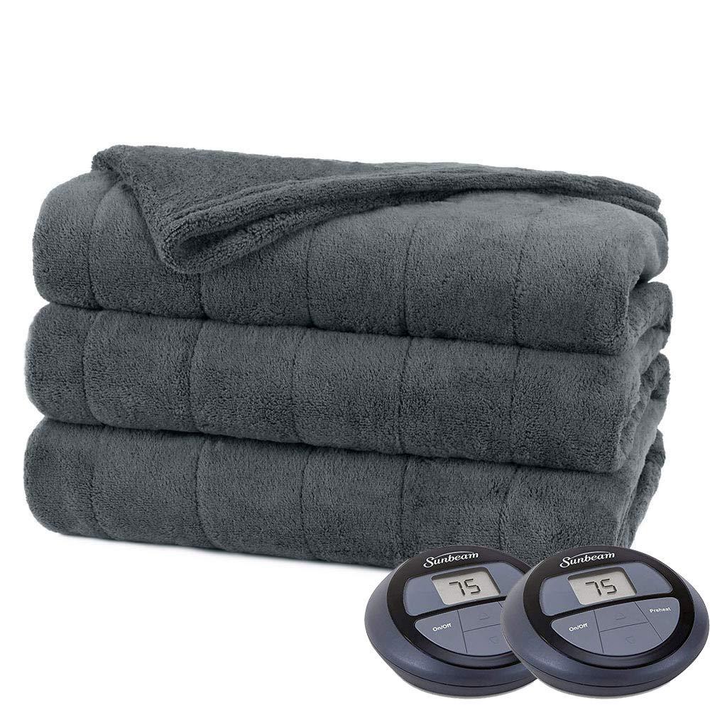 Sunbeam Channeled Soft Microplush Electric Heated Warming Blanket Full Royal Blue Washable Auto Shut Off 10 Heat Settings