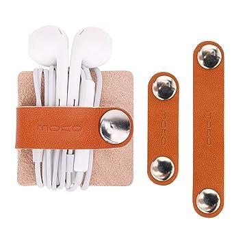 MoKo Manejo de Cables de Cuero Genuino, [3 PZS] Correas de Cable de Auriculares, Porta Auriculares de Cuero, Organizadores de Cables Guardianes con ...