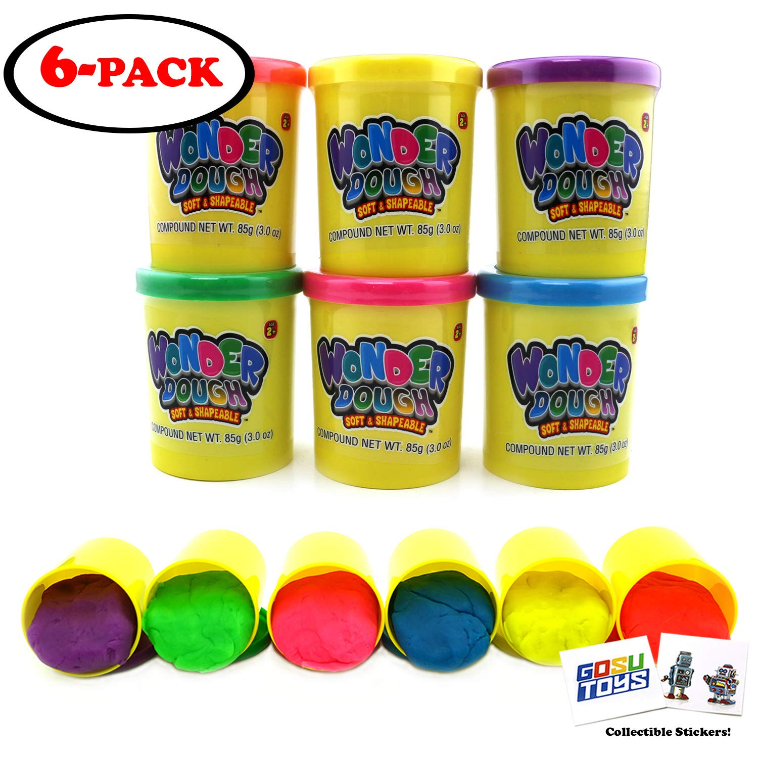 Kids Colorful Arts and Crafts Play Wonder Dough Soft and Shapeable Mega Molding and Sculpting Playset 6 Cans of Creative Fun Non-Toxic with 2 GosuToys Stickers