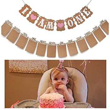 Amazon Com Baby First Birthday Decorations Banner I Am One And 1 12