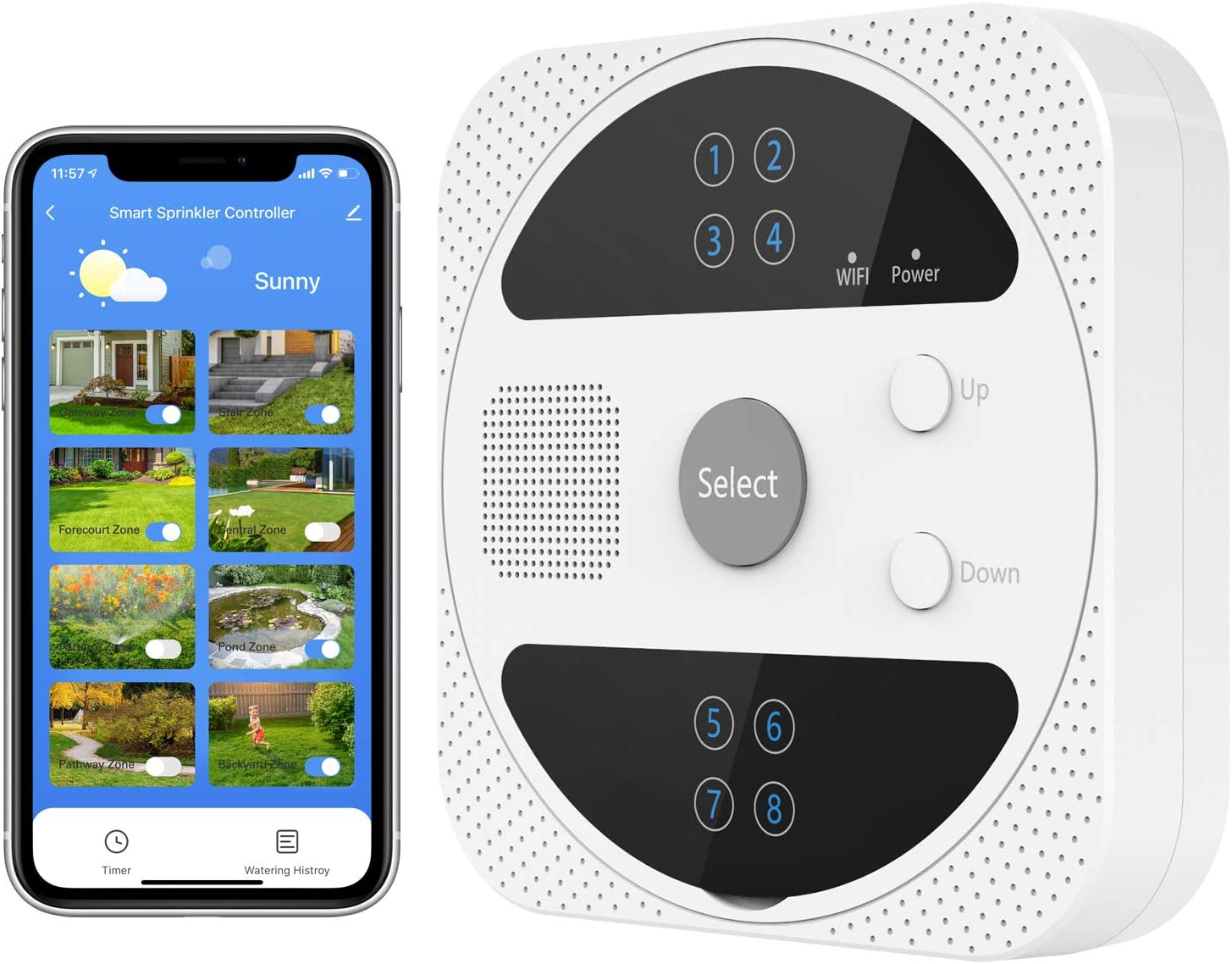 MoKo Smart Lawn Sprinkler Controller, Smart WiFi Irrigation Controller 8 Zone Outdoor Wireless Irrigation System Timer, Weather Intelligence, Work with Alexa/Google Assistant/Siri Shortcuts, White