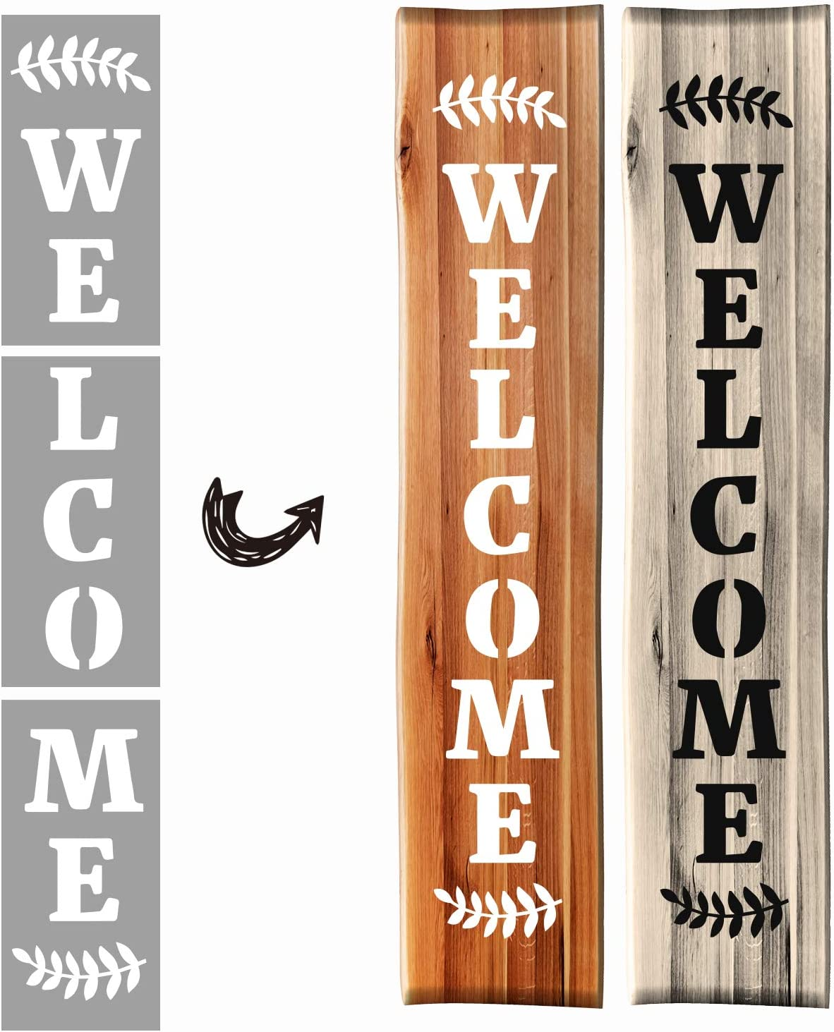 Agantree Welcome Stencils - Reusable Word Stencils Template - Drawing Painting Spraying a Large Vertical Welcome Word Sign for Porch Front Door of Home or Hotle Store