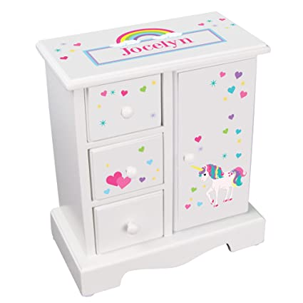 Amazoncom Personalized Girls Jewelry Armoire with Unicorn Design
