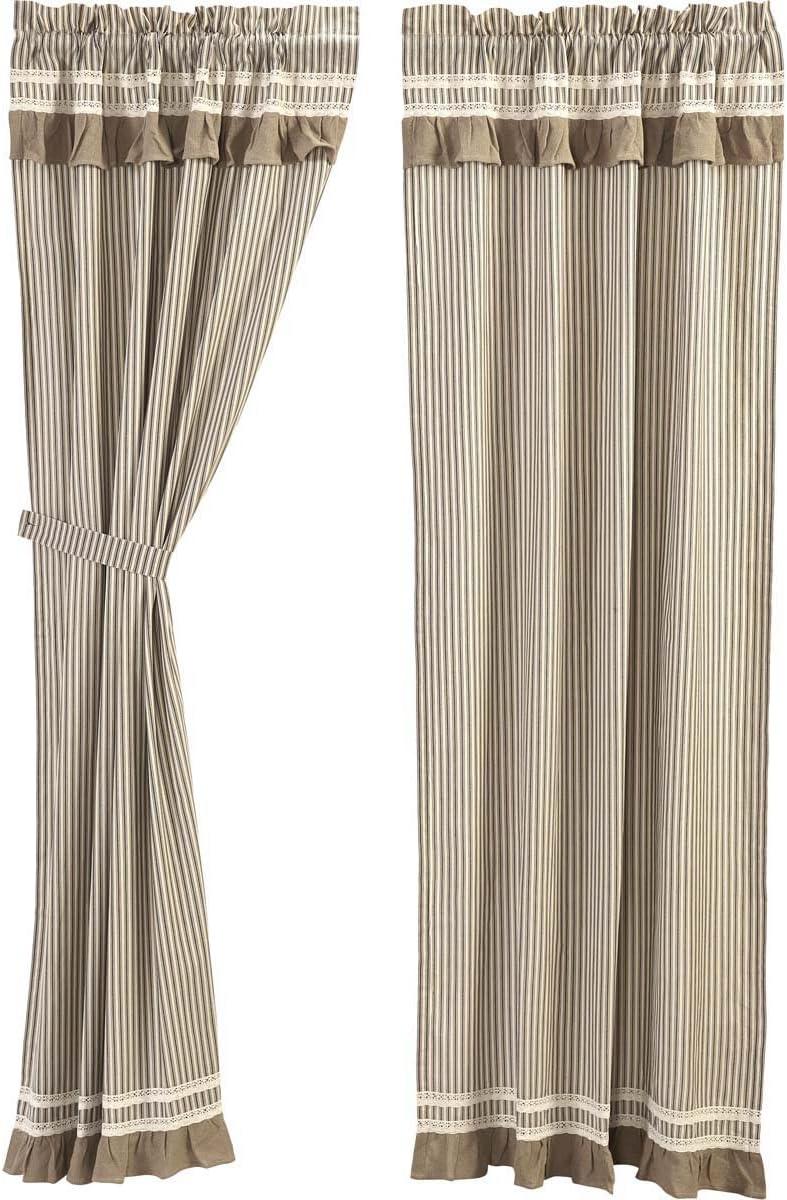 VHC Brands Farmhouse Window Kendra Stripe White Curtain Panel Pair, Black