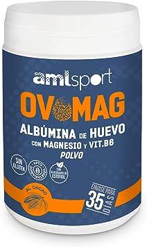 AML SPORT -OVOMAG- Albumina de huevo, Magnesio y Vitamina B6 – 410 gr. Regenerador de fibras musculares. Ayuda a disminuir el cansancio y la fatiga. ...
