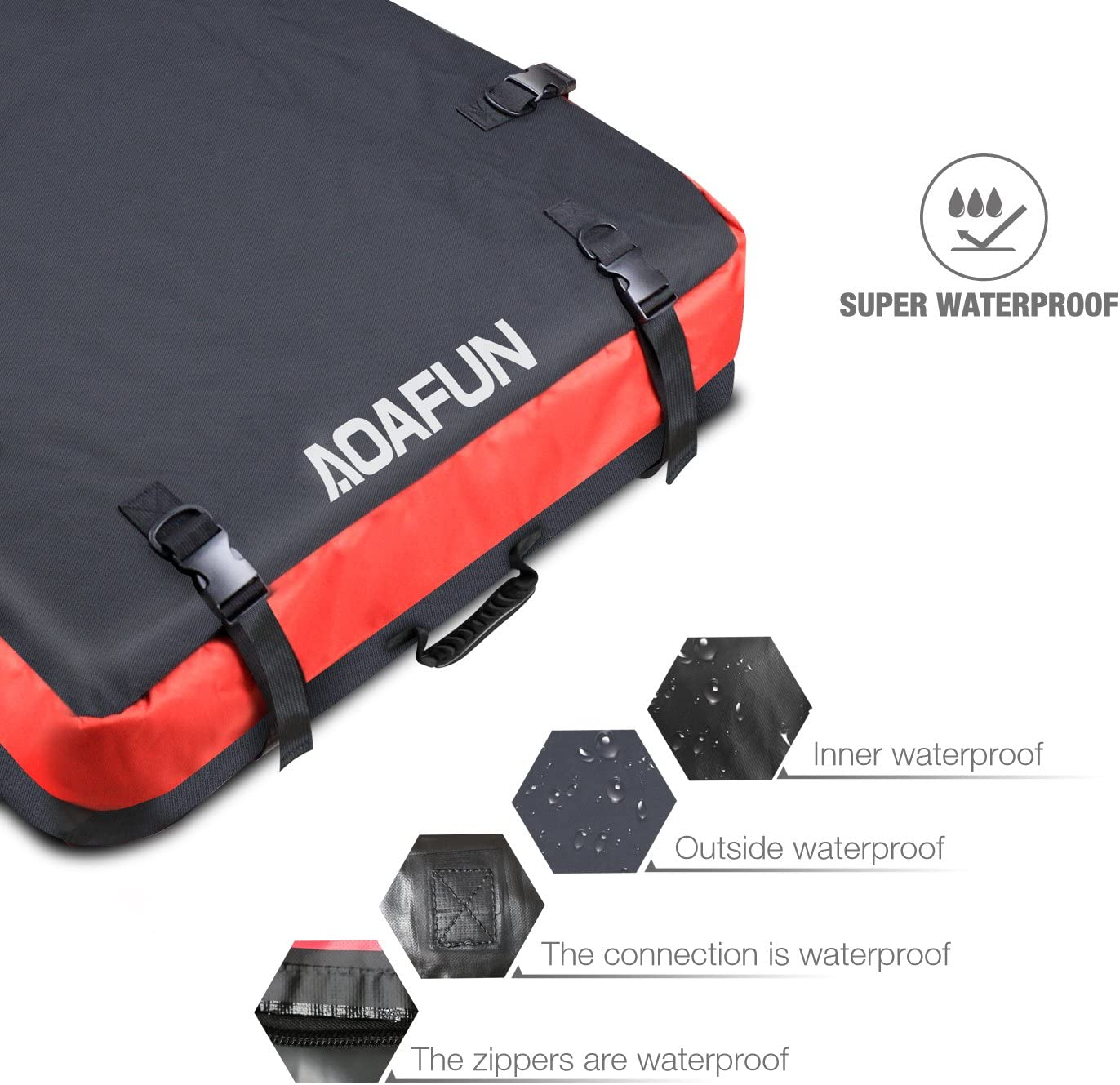sac de toit de bo/îte de rangement de 10 pieds cubes pour le voyage pour les longs voyages Sac de toit de sac de toit de voiture dAoafun les vacances et le transport de bagage