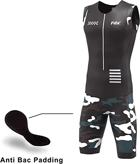 NEW Men Padded Triathlon Tri Suit Compression Running Swimming Cycling Skinsuit