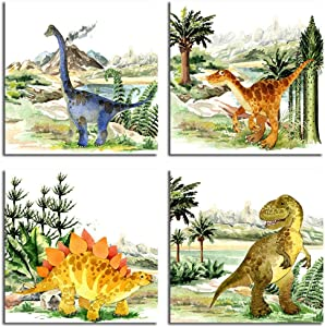 Dinosaur Room Decor For Boys Wall Art Watercolor Dinosaur Poster Home Kitchen Wall Decoration Canvas Art Children Room Cartoon Poster. (Dinosaur,12x12inchX4 Unframed)