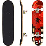 """dongchuan Pro Skateboard Complete - 31"""" x 8"""" Double Kick 9 Layer Canadian Maple Wood Tricks Skate Board for Beginner, Birthday Gift for Kids Boys Girls 5 Up Years Old"""