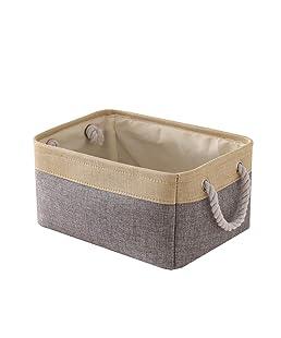 TheWarmHome Decorative Basket Rectangular Fabric Storage Basket Organizer Bin with Handles for Clothes Storage (Grey Patchwork, 11.8×7.9×5.2 inch)