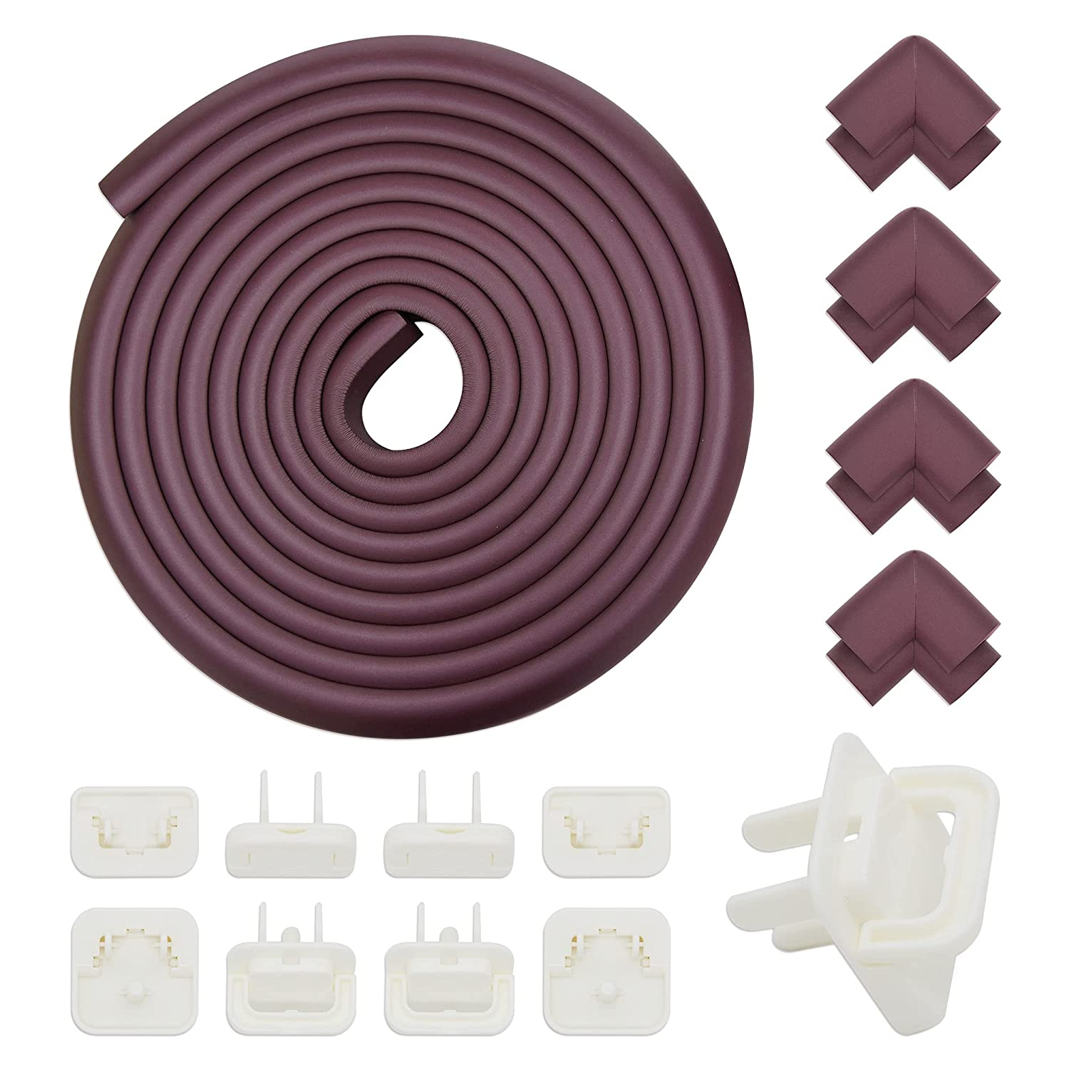 Corner Protector ,Baby Proofing Edge Corner Guards, Child Safety Furniture Bumper ,Table Protectors , Edge Corner Cushion (19.6 ft Edge + 8 Corners + 8 Outlet Plug Covers) Heavy-Duty