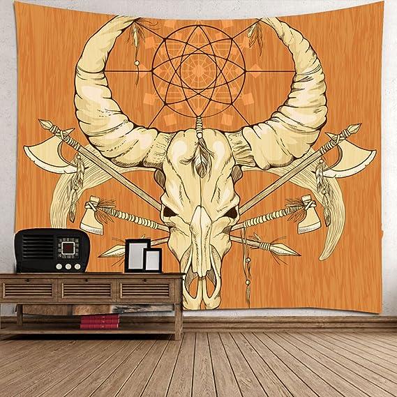 Retro-Stil Kuh Schädel Art Wand Tapisserie, Indische Mandala Hippie ...
