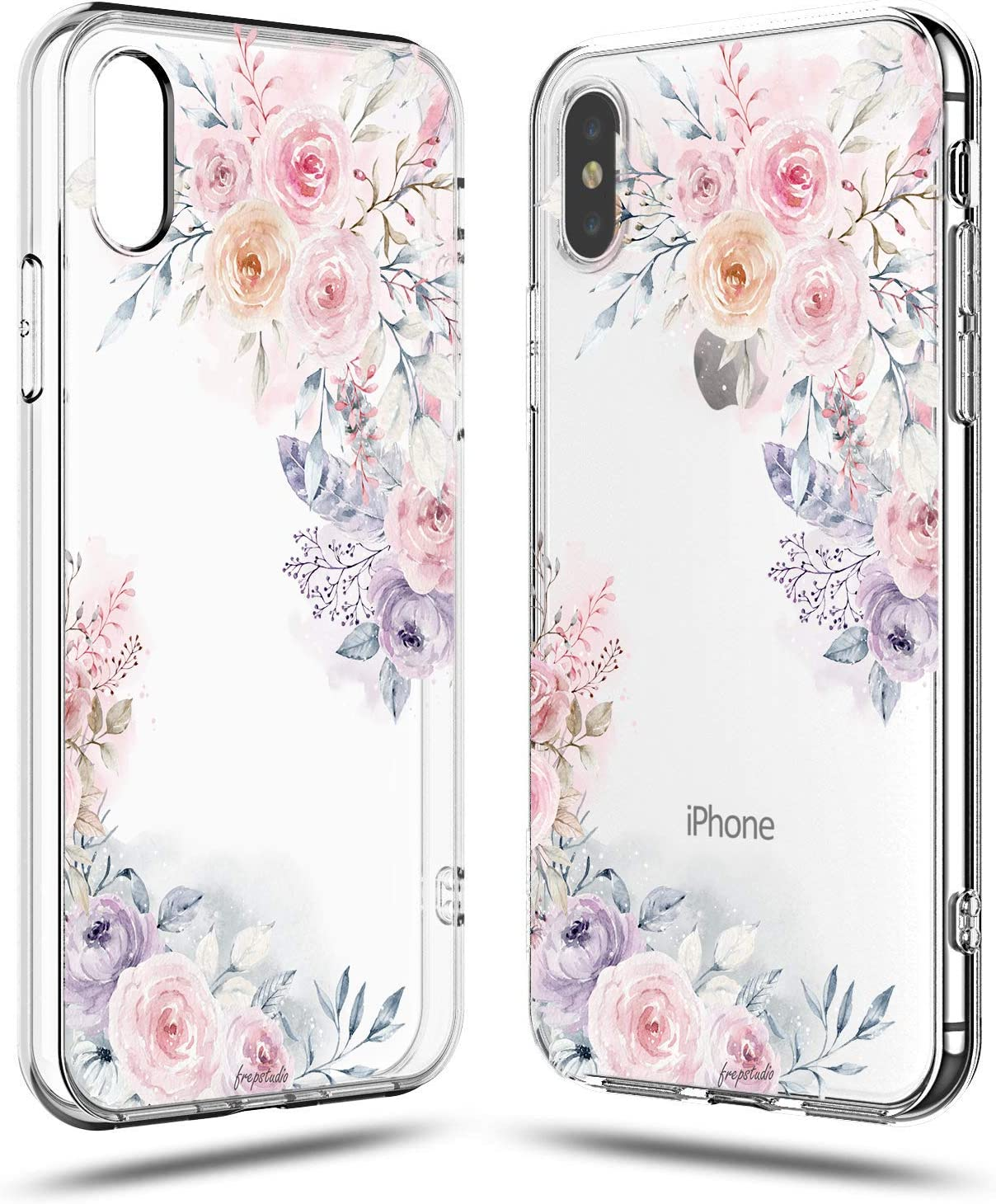 iPhone Xs/X Case,Cute Tropical Roses Floral Flowers Daisy Blooms Obsession Camellia Garden Women Girls Trendy Pink Purple Spring Summer Simple Chic Clear Protective Case Compatible for iPhone X/XS