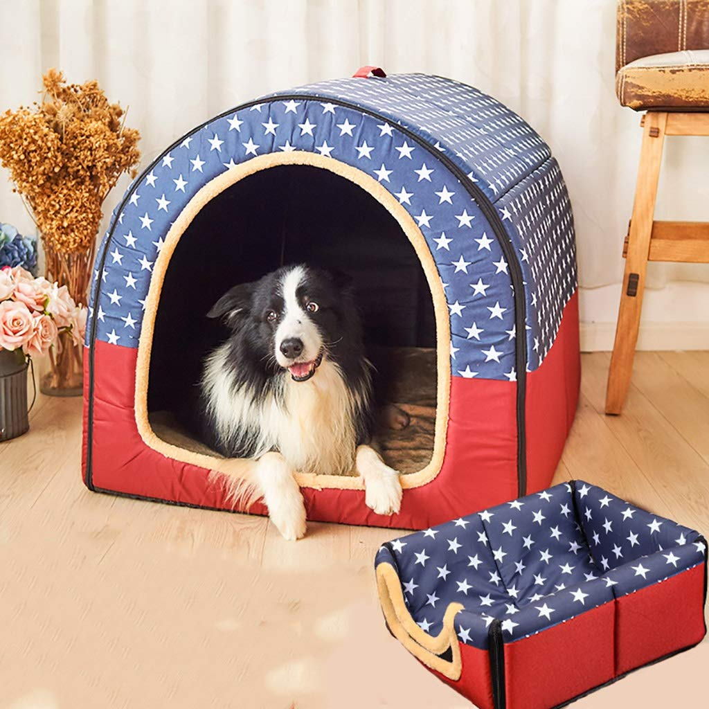 A 403935 A 403935 Pet Supplies Pet house kennel Medium and large dogs Foldable Washable Doghouse Pet room Pet mat pet bed Universal year-round (color   A, Size   40  39  35)