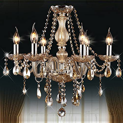 MAMEI 6 Lights Luxury European Amber Candle Glass Crystal Chandelier Pendant Light Fixtures for Bedroom Living Room Dining Room H23.6 X W21.65