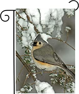 """ShineSnow Winter Christmas Birds Animal on Tree Branch Snow Seasonal Garden Yard Flag 12""""x 18"""" Double Sided Polyester Welcome House Flag Banners for Patio Lawn Outdoor Home Decor"""
