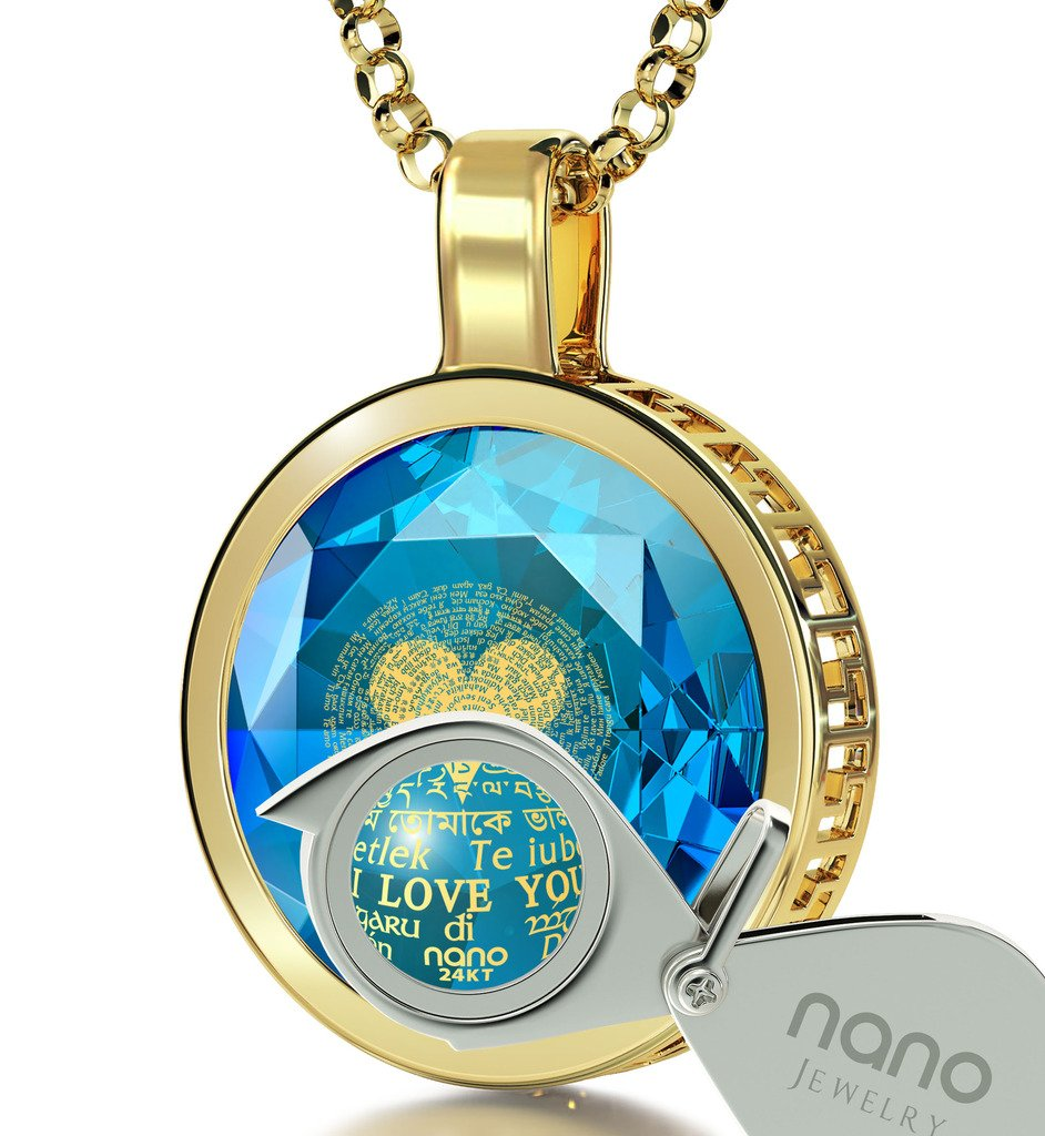 14k Yellow Gold I Love You Necklace in 120 Languages Blue Cubic Zirconia Halo Pendant, 18'' Gold Filled