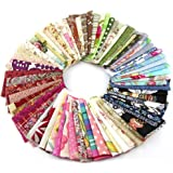 RayLineDo Fabric Patchwork Craft Cotton Material Batiks Mixed Squares Bundle, 10 x 10cm, 50-Pack