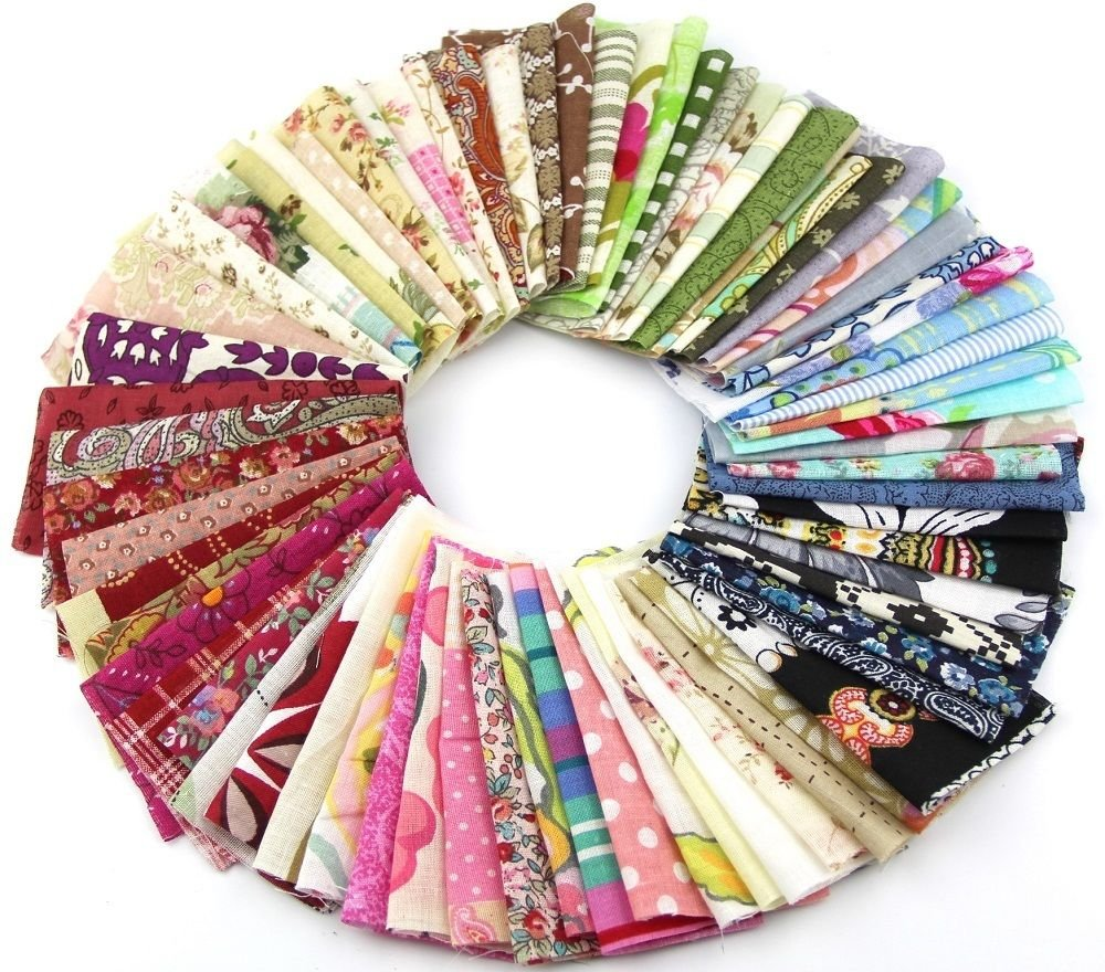 RayLineDo Fabric Patchwork Craft Cotton Material Batiks Mixed Squares Bundle, 10 x 10cm, 50-Pack auto